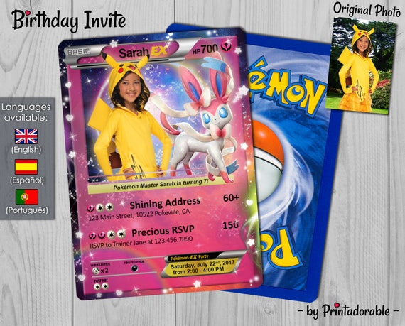 Pokémon Card Fairy Invitation - Fairy Type Pokémon Card - Pokemon GO Birthday Invitation and Poké Card - Digital or Printed File