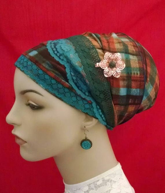 Silken plaid sinar tichel, tichels, chemo scarves, head scarves, hair snoods