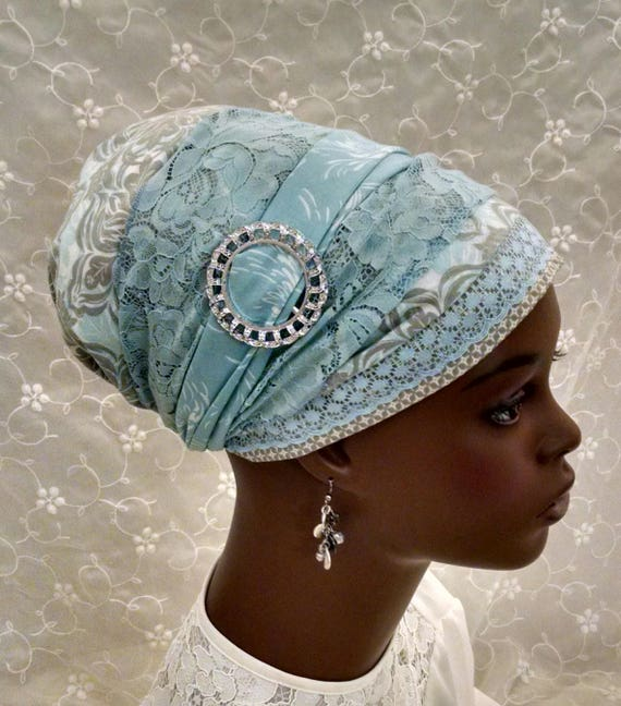 Blue and taupe cotton and lace sinar tichel, tichels, head scarves, chemo scarf, Jewish head covering, mitpachat, apron tichel,