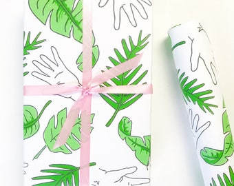 PALM PRINT Gift Wrap, Palm Tree Print, Wrapping Paper, Palm Frawns Print, Banana Leaves Print, Gift Wrap Sheets, Beverly Hills Palm Trees