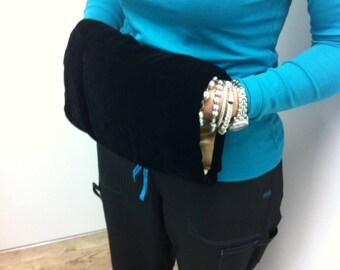 Vintage Muff - Black Velveteen Hand Warmer - Coat Accessory - Gift for Her