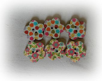 6 flower floral shaped wooden buttons / Strawberry 2 holes - 24 mm