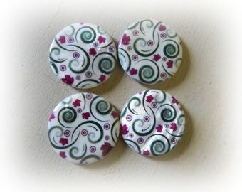 4 round pearls in shells pattern fuchsia pink and green on white 33 mm
