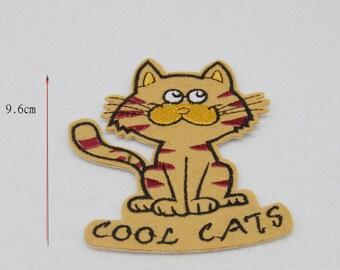 1 fusible / applique cool cat brown beige black 9.6 * 8.2 cm
