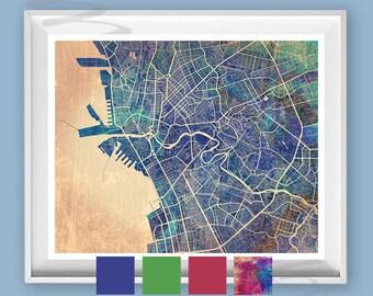 Vintage Manila Street Map Print, Manila Watercolor, Painting Manila, Map Manila Poster, Manila Philippines map, PHI Map PH, Art Manila City