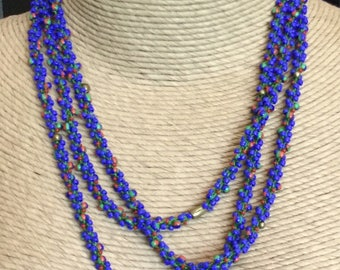Long Blue Red Green Glass Brass Beaded Crocheted Necklace