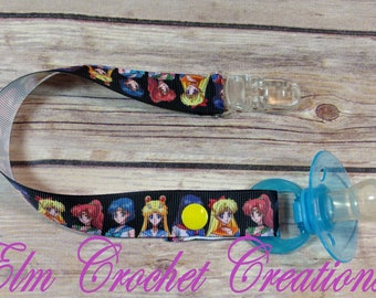 Sailor Moon Sailor Scouts Basic Pacifier Clip - Ready to ship! ABDL/DDLG/Age Play
