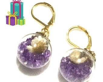 Purple Rhinestone and Dried Flower Orb Earrings, Unique glass Earrings, Girlfriend gift,Appreciation gift,Earrings Gold, Free local Shipping