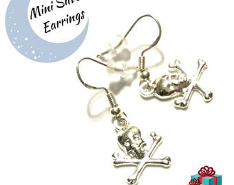 Pirate Earrings, Miniature Silver Drop  Earrings, Skull and Crossbones Earrings, Appreciation gift, Every Day Earrings, Free Local Shipping