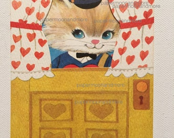 Vintage Valentine Grandma Mid Century NOS Unused Kitten Mail Carrier