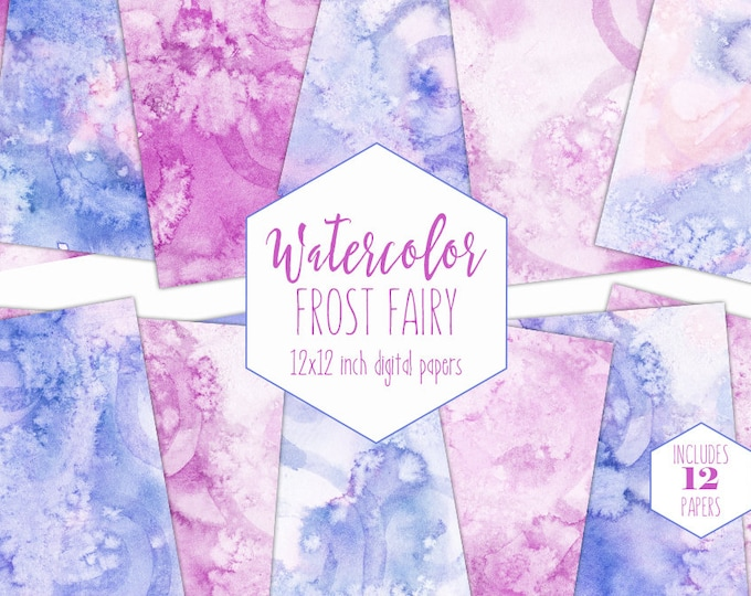 BLUSH PINK WATERCOLOR Digital Paper Pack Commercial Use Cute Backgrounds Frost Fairy Pink & Blue Scrapbook Papers Real Watercolour Textures