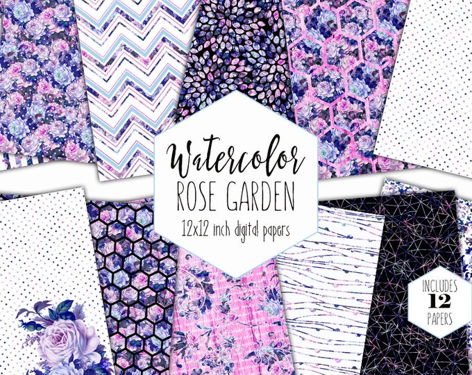 WATERCOLOR ROSE GARDEN Digital Paper Pack Commercial Use Backgrounds Pink & Royal Blue Scrapbook Paper Shabby Chic Wood Floral Dot Patterns