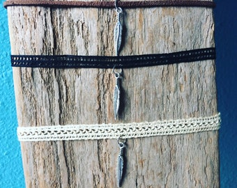 Feather and lace chokers