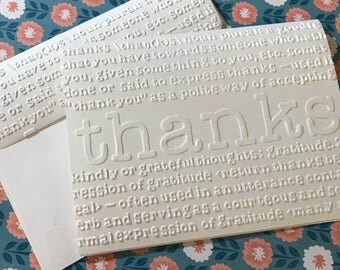 Thank You Cards~Embossed Thank You Cards~Thank You~Note Cards~Blank Thank You Cards ~Wedding~Shower~Bridal~Blank Thank You Notes