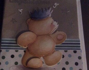 Hand made card , bear , congratulations