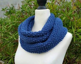 Double-wrap moss cowl, mid denim blue, 100% Australian wool, infinity scarf, snood, loop scarf, neck warmer. Hand Knitted