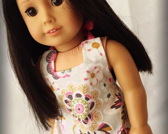 "Pink and Gray Floral Ruffled Halter Top and Capris for 18"" dolls.  Fits American Girl My Life or Our Generation Dolls Clothes"