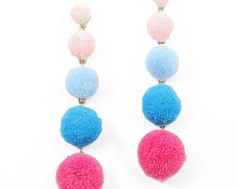Fun 5 -Tiers Pink Blue Pom Pom Earrings