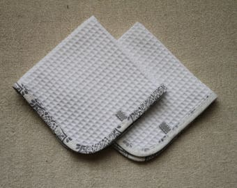 2 Baby Burp Cloths / Cotton Waffle / Dribble or Wash Cloth / white with white and grey binding