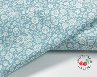 Floral Aqua Quilt Fabric - Happy Day - Riley Blake Designs - Lori Whitlock