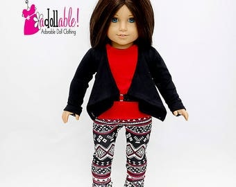 American made Girl Doll Clothes, 18 inch Doll Clothing, Jacket, Top, Aztec Inspired Leggings made to fit like American girl doll clothes