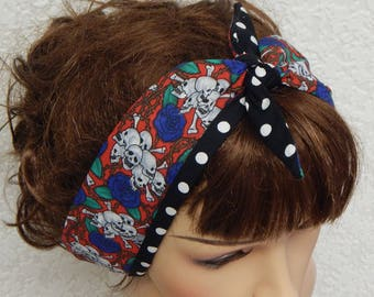 Gothic self tie retro headband, rockabilly hair band, vintage style head wrap, pin up headband, 50's head wear, head scarf bandanna