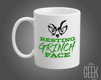 Resting Grinch Face Mug