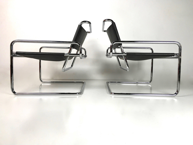 Modern sling chairs - Rare Pair Of Mid Century Modern Luigi Saccardo Chrome Leather Sling Tubular Lounge Chairs Arrmet Wassily