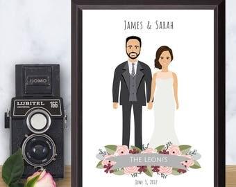 Illustrated Wedding portrait, Personalized Drawing, Custom illustration, Couple portrait, Anniversary gift, Digital File, Printable