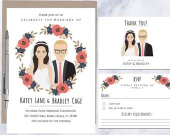 Custom Illustrated Wedding Invitation, Drawing on invite, illustrated invitation, Couple portrait, printable, digital file