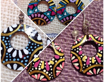 Ethnic coconut hand painted earrings