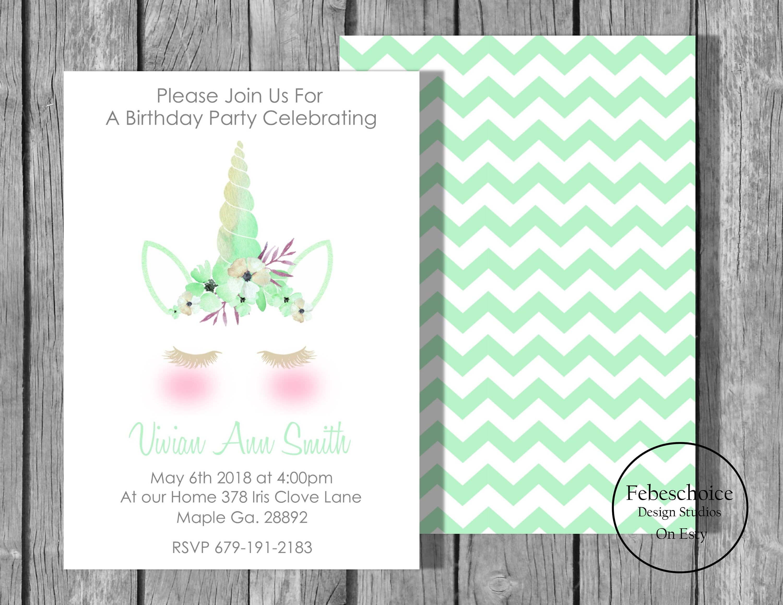 Unicorn Invitation / Unicorn Invitation Birthday / Unicorn Birthday ...