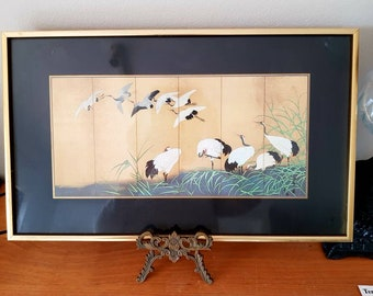 Vintage Crane Scene Wallhanging/Picture Framed/Home Decor
