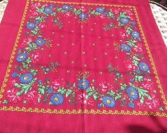 Beautiful russian scarf Floral Shawl Vintage Ukrainian Romanian scarf old shawl Soviet Shawl romanian style women A perfect gift for her