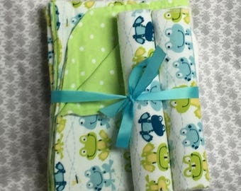 Flannel Baby Gift Set, Baby Blanket and Burp Cloth, Gift Set