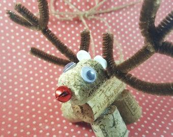 Reindeer wine cork ornament
