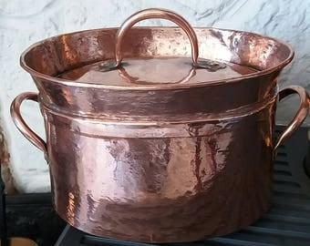 Antique copper daubiere dutch oven casserol oval cooking pot  french cookware ovenware roasting kitchen dining home living  kitchen dining