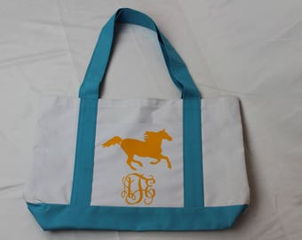 HORSE Monogrammed Personalized Tote Bag- Horse Lover's Tote- Western Wedding Favor-Country Wedding Tote