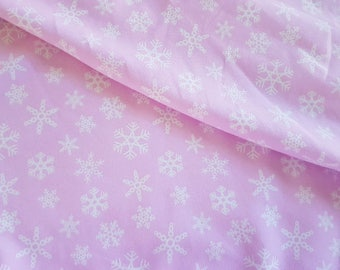 Snowflake - Pink, Cotton Lycra Jersey Knit Fabric