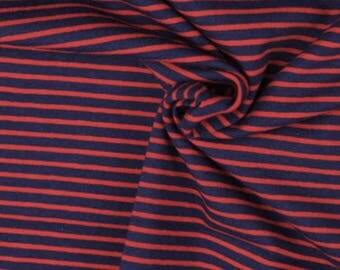 Red and Navy Stripe Cotton Lycra Jersey Knit Fabric