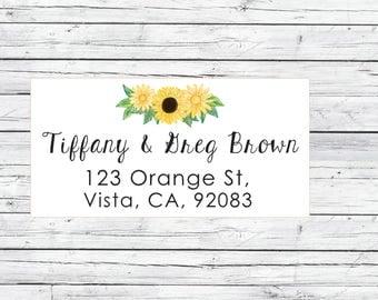 Sunflower return address labels, cute address labels, flowers return address labels, floral address labels, shipping labels , mailing label
