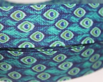"""Peacock Print  1.5"""" Collar with Side Release Buckle (D-Ring Martingale Option Available)"""