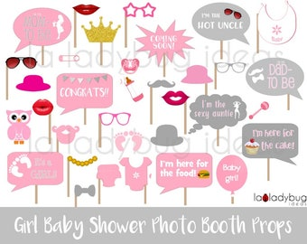Girl Baby Shower Photo Booth Props. Printable. Pink And Gray. DIY Baby  Shower