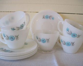 5 Fire King Cups and Saucers Boutonnière - Item #1627
