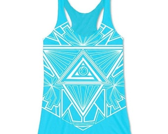 Why I, Y Eye Ladies Tank Tops / Blue Tank Top / Womens Tank Top / Blue Clothing / Abstract Clothing / Geometric Clothing / Psychedelic