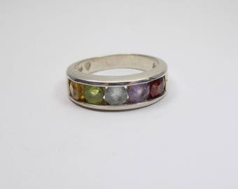 Beautiful gemstone sterling silver ring size 7 3/4
