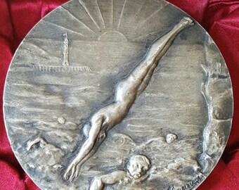 Save 20% Large Vintage French Art Deco Swim Medal Engraved UAC 1952 Art Nouveau Scrollwork Signed