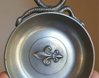 JEWELRY CLEARANCE Vintage French Hallmarked Pewter Serpent and Fleur de Lis Ring Dish Jewelry Dish Snake Jewelry Holder
