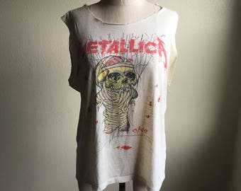 vintage 80s 1988 metallica one song lyrics landmine and justice for all metal thrash trashed cut off see through thin t shirt