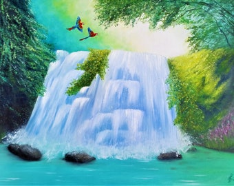 Life JOY. Original OIL painting on canvas by Ingrida Grosmane - Waterfall - parrots flying - Home interior - Best gift idea